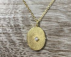 Vintage Diamond Oval Locket Pendant in 14k Yellow Solid Gold, .01 ct H SI1 Diamond, Textured Oval Locket, w/ 18 inch Gold Filled Chain, 3.5g