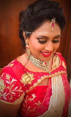 Chandana gives us new bridal goals! Hair and makeup by Swank Studio. Saree Blouse Neck Designs, Fancy Blouse Designs, Saree Blouse Patterns, Designer Blouse Patterns, Bridal Blouse Designs, Magam Work Designs, Cut Work Blouse, Blouse Models, Eye Makeup