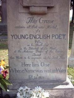 Keats's grave, the Protestant Cemetery in Rome