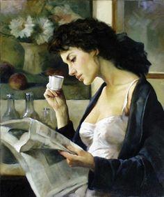 books0977: Café del Matino. Gianni Strino (Italian, 1953-). Oil on canvas.