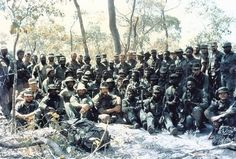 A large group of South African Special Forces operators just before leaving their Tactical Headquarters to move out and carry out a night attack on a conventional brigade of Soviet-led forces in southern Angola, Australian Special Forces, Colonial, Airborne Ranger, The Great Migration, Army Day, Military Special Forces, Vietnam War Photos, Weapon Of Mass Destruction, Boat Design