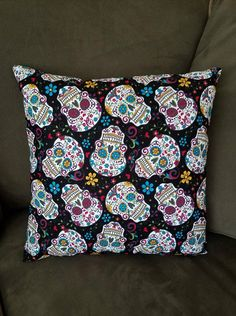 Folkloric Skulls Pillow, Throw Pillow, Sugar Skulls, David Textiles, Day of the Dead, Skulls, Skulls Pillow