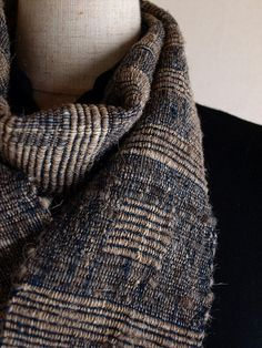 Handwoven Rustic Scarf (indigo) by cocoon_oharu