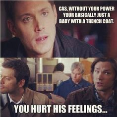 Supernatural Sam and dean Winchester castiel -- Funny how true it is. Sam Dean, Dean And Castiel, Supernatural Fandom, Crowley, Sam Winchester, Winchester Brothers, Misha Collins, Jensen Ackles, Bobby