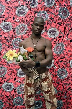 Benin bodybuilders against African prints by Leonce Raphael Agbodjélou