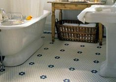 Arts & Crafts Baths: Info to create a historically accurate period bath. Craftsman Style Bathrooms, Bungalow Bathroom, New Bathroom Ideas, Modern Bathroom, 1930s Bathroom, Hexagon Mosaic Tile, Hex Tile, Modern Vanity, Bath Design