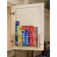 Rev-A-Shelf Foil Rack Door Mount 16-1/8in Wide, (kitchen storage, kitchen storage organizer, pantry organizer, cabinet organizers, over door rack, pot lid rack, cabinet door organizers, over-the-door storage rack, organization, chrome storage rack)