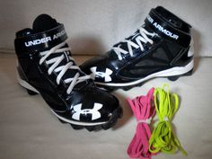 Under Armour UA Crusher RM Jr. Black White Football Shoes Cleats SIZE 6Y Spikes…