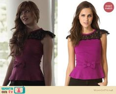 Layla's purple and black lace top with bow on Nashville.  Outfit Details: https://wornontv.net/21195/ #Nashville