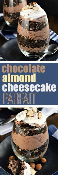 ***Chocolate Almond Cheesecake Parfait (No Bake) ~ chocolate sandwich cookies with almonds to create a crunchy crust, with a creamy chocolate cheesecake! Mini Desserts, Chocolate Desserts, Just Desserts, Chocolate Cheesecake, Chocolate Chocolate, Best Dessert Recipes, Sweets Recipes, Romantic Desserts, Shugary Sweets