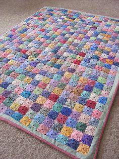 ༻❁༺ ❤️ ༻❁༺  Colcha Belíssima Fuxico no Quadrado -  /    ༻❁༺ ❤️ ༻❁༺  Blanket Beautiful  Yoyos in Square -