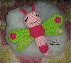 Schmetterling * butterfly * knistert * glöckchen * Baby * gehäkelt * crochet * https:// www.facebook.com / fraeuleinwollwunder