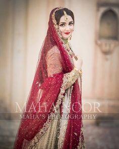 Masha Allah done by . Bridal Poses, Bridal Photoshoot, Bridal Shoot, Bridal Portraits, Muslim Wedding Dresses, Muslim Brides, Pakistani Wedding Dresses, Nikkah Dress, Shadi Dresses