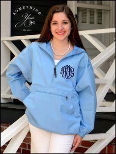 Carolina Blue Monogram Windbreaker Jacket  by SomethingYouGifts