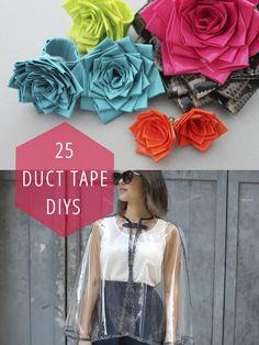 25 duct tape DIYs. Like a tote bag...how awesome ~mrm