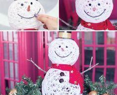 Build a snowman from yarn