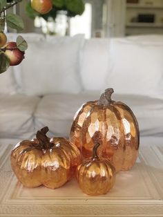 Pumpkin Crafts // How to Make Copper Leaf Pumpkins // My 100 Year Old Home So I decided to make copper leaf pumpkins. Can I just say this is one of my absolute favorite pumpkin craft DIY's ever? Diy Pumpkin, Pumpkin Crafts, Pumpkin Spice, Pumpkin Carving, Leaf Crafts, Fall Crafts, Diy Crafts, Simple Crafts, Christmas Crafts