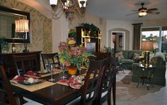 Open concept dining room in the hibiscus model.
