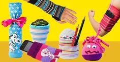 Was macht man mit einzelnen Socken? Wir basteln damit: Wieaus Strümpfen Stiftehalter, Blumentopf-Deko, Stulpen und Handytaschen basteln könnt, seht ihr hier