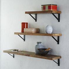 Clean wall shelving - add found object / media room Reclaimed Wood Shelf + Basic Brackets #westelm