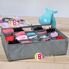 20 Cell Bamboo Charcoal Ties Socks Underwear Drawer Closet Organizer Storage Box -- BuyinCoins.com