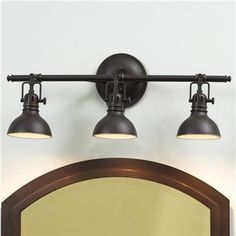 "$184 3x50 watt GU10 MR16 bulbs included. (11.5""Hx23""Wx7.25""D). Backplate (6""Hx6""W). Can also be mounted on the ceiling.Pullman Bath Light - 3 Light"