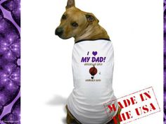 """Adorable dog t-shirt that says, """"I Love My Dad"""" with MoonDreams Music design #dog #tshirt #pets #cute #furryfriends #adorable"""