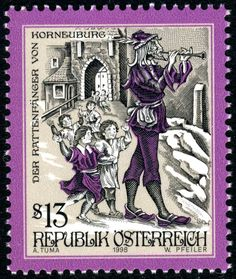 The Rat-catcher of Korneuburg, Engraved by Werner Pfeiler (born 1941).  Austrian stamp,circa 1998........The Pied Piper of Hamelin , also known as the Pan Piper or the Rat-Catcher of Hamelin is a legend, documented by the Brothers Grimm (Der Rattenfänger von Hameln ), which tells of an unusual disaster that occurred in the town of Hamelin (Hameln), Germany, 26 June 1284.