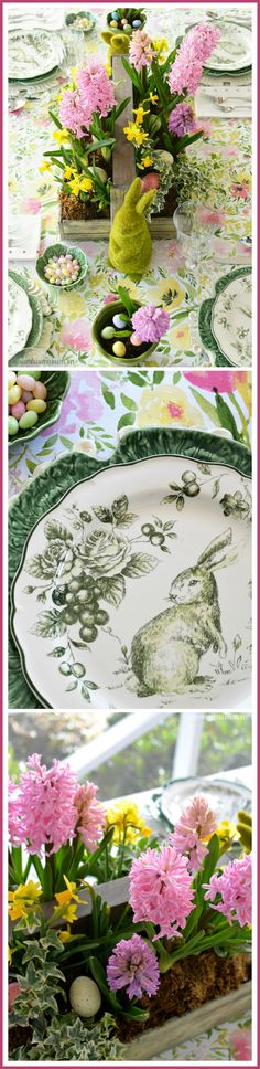 Hopping Down the Bunny Trail Table and Spring Blooming Centerpiece | homeiswheretheboatis.net #Easter #tablescape