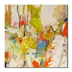 Hand Painted Oil Painting  Abstract Colorful with Stretched Frame – USD $ 79.99