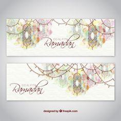 Artistic watercolor ramadan banners Free Vector