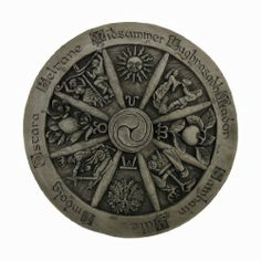 I love this!! Wheel Of The Year Stone Finish Wall Hanging Wicca Pagan by Private Label. $69.99. Stone Finish. Depicting the eight Pagan holidays or Sabbaths, the Wheel of the Year is laid out as a traditional wooden wheel. The Quarters: Yule, Ostara, Midsummer, and Mabon focus mainly on the movement of the sun and contain alchemical symbols for the seasons. Each of the Cross Quarters: Samhain, Imbolg, Beltane, Lug...