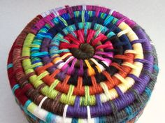 Yarn Coiled basket --  appears to be adaptation of same pattern as the rag rug (close by -- near this pin)