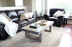 Modern Coffee Table design with clean lines and rough cut lumber.