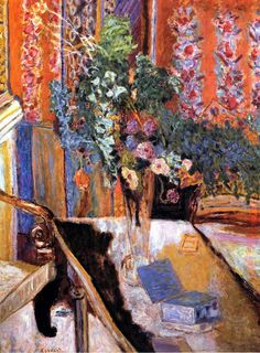 Pierre Bonnard-interior with flowers-1919