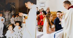 Here's a beautiful then-and-now photo that shows a bride and groom on their wedding day in the exact same pose as when they received their first holy commu