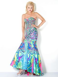 Multicolor Designer Mermaid Prom Dress, Style 3819