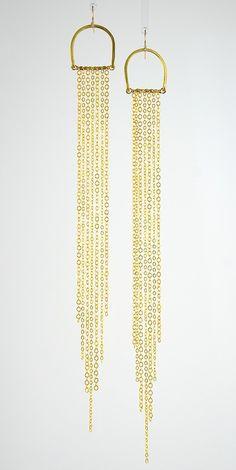 Sun Rays Long Length Gold Brass Earrings | Sonia Lub | Handmade intentional eco-friendly jewelry