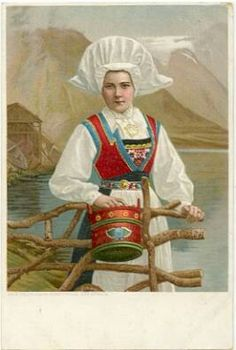 Woman from Hardanger wearing bunad with skaut and carrying a pail. This is a John Fredriksons postcard published in Christiania now Oslo, Norway. Antique Photos, Vintage Photos, Folk Costume, Costumes, Norwegian Vikings, Norway Viking, Mrs Claus, Vintage Postcards, Traditional Dresses
