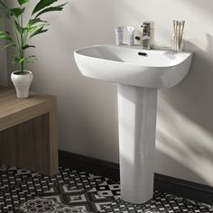 Contemporary Bathrooms, Modern Bathroom Design, Contemporary Design, Pedestal Basin, 1 Tap, Basin Mixer Taps, Bathroom Basin, Ceramic Sink, The Fosters
