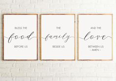 Set of 3 Printable Bless the food before us Dining Room Decor Kitchen wall art Kitchen Decor Kitchen signs Bible verse wall art. Kitchen Signs, Kitchen Wall Art, Kitchen Decor, Kitchen Quotes, Bible Verse Wall Art, Wall Art Quotes, Living Room Art, Living Room Kitchen, Dining Room Wall Art