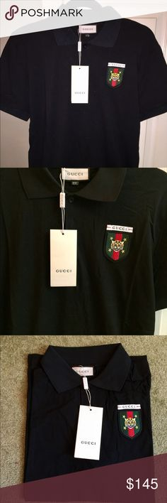Brand new men's gucci polo Brand new with tags men's gucci polo in a XXL runs a size small so best fits a L Also an XL can fit into this Gucci Shirts Polos Mens Fashion, Fashion Tips, Fashion Design, Fashion Trends, Gucci Shirts, New Man, Versace, Brand New, T Shirt