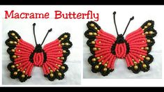 Hi It's Macrame Creation . Here in this Video i show you New design Macrame Butterfly making. here i used - 6 red cord ( 2 mtr ) 9 black cord mtr ) 3 t. Macrame Knots, Micro Macrame, Macrame Jewelry, Macrame Bracelets, Jewlery, Diy Yarn Decor, Macrame Projects, Macrame Patterns, Butterfly Wall