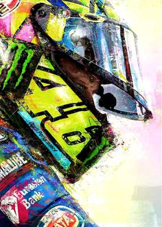 Portrait of Moto GP legend Valentino Rossi. Valentino Rossi Logo, Motogp Valentino Rossi, Motorcycle Art, Bike Art, Vale Rossi, Moto Wallpapers, Gp Moto, Pop Art Images, Cute Baby Wallpaper