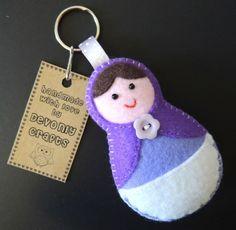 Russian Doll Felt Keyring - Purple £4.50
