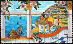 Positano Italy is a hand painted panel of tiles 100x60 cm, approx. 39.4x23.6 inches in total size.  The collage consists of 15 tiles each at 20x20 cm, 8x8 inches.   The beautiful scenery of Positano has been hand painted into one collage on ceramic tiles that will make your home more unique. Our Ceramic Glazed Tiles are traditionally used to cover walls where they are used in finishing kitchens, bathrooms, benches, decorative panels, floor applications, pools, fountains, fireplaces, table…
