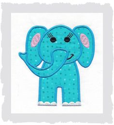 Elephant Machine Applique Embroidery Design via Etsy