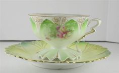 Unmarked RS Prussia White Pink Roses Floral Porcelain Cup & Saucer...