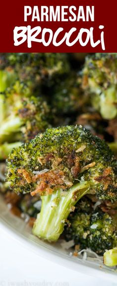 This Parmesan Roasted Broccoli is my new favorite way to eat broccoli! It's so simple and seriously so addictive! via @iwashyoudry