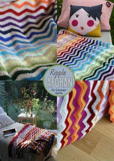 Ein Schweizer Garten  Ripple Afghan Blanket rainbow colors